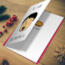 "Load image into Gallery viewer, Miss Fong in Hong Kong: ""All I Want For Christmas Is Egg Tarts"" Christmas Card"