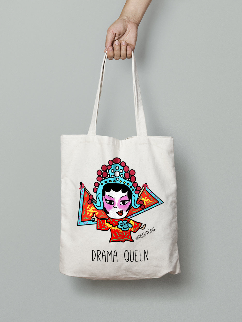 Miss Fong in Hong Kong: Cantonese Opera Drama Queen Cotton Canvas Tote Bag