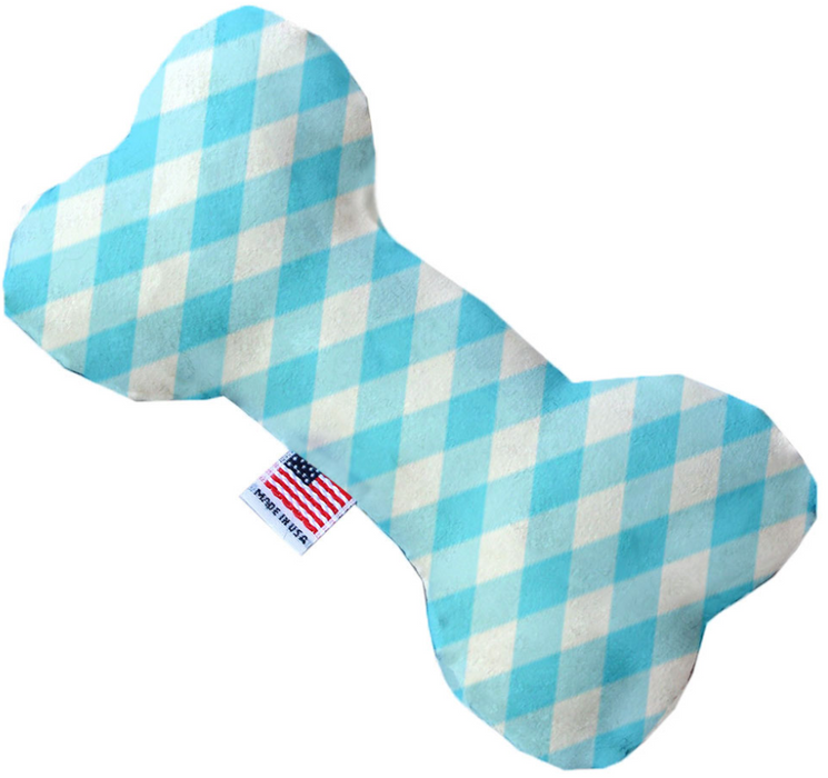 Canvas Bone Dog Toy - Baby Blue Plaid