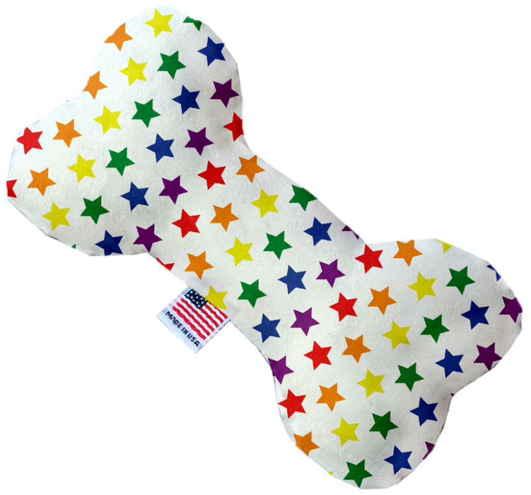 Canvas Bone Dog Toy - Rainbow Stars