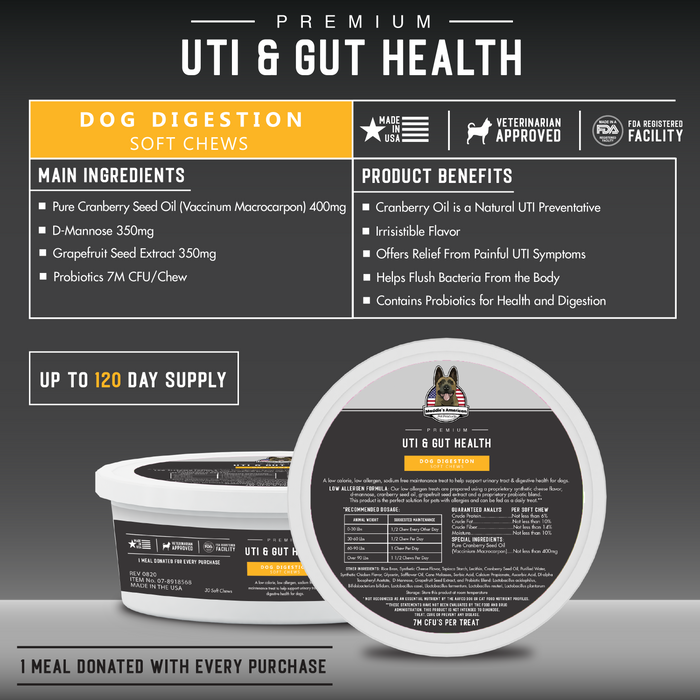 Premium Dog UTI & Gut Health Soft Chews 30ct