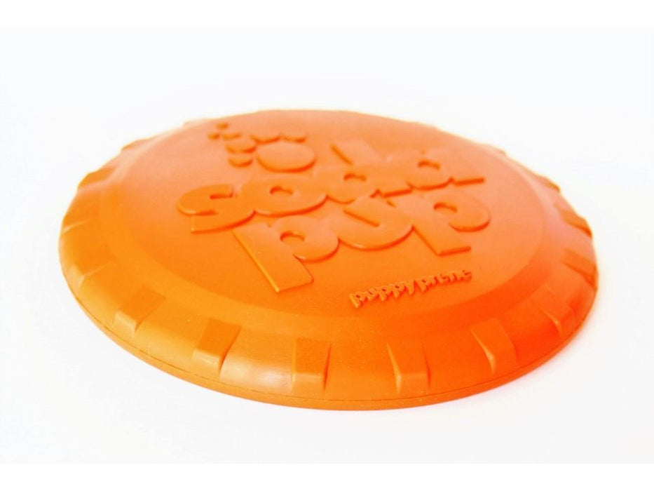 Bottle Cap Frisbee Durable Rubber Retrieving Toy - Orange