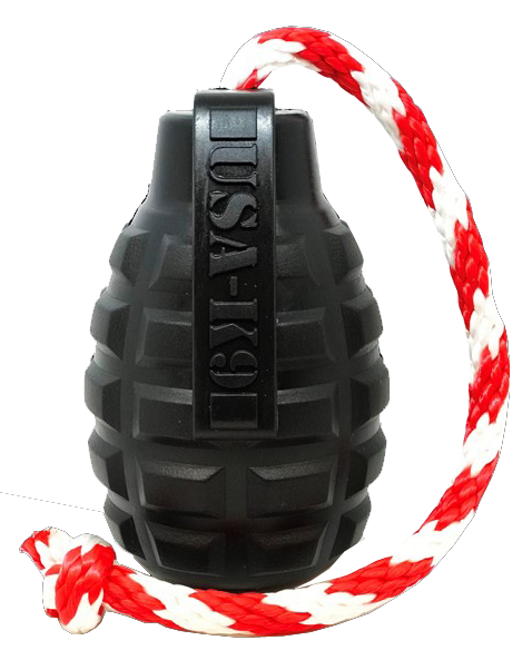 Magnum Grenade Ultra Durable Rubber Toy with Rope
