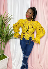 "Load image into Gallery viewer, ""Spill The Tea"" Blouse (Mustard)"