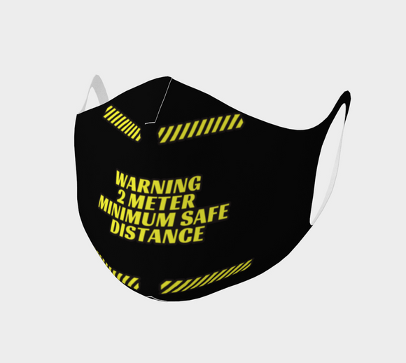 WARNING 2 METERS MINIMUM SAFE DISTANCE Mask