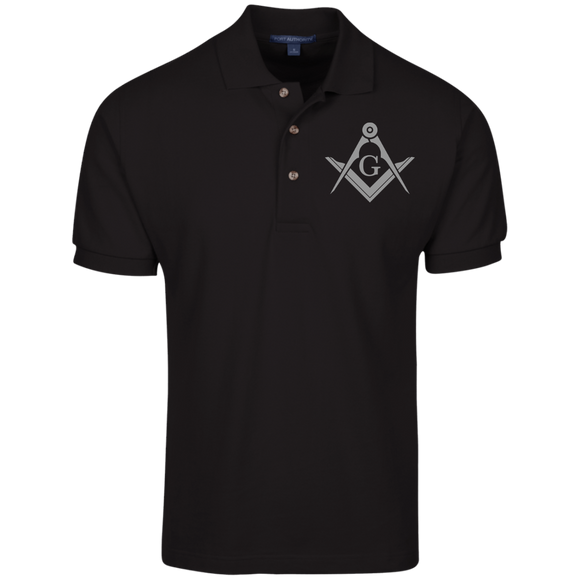 FreeMason Silver S&C  Cotton Pique Knit Polo
