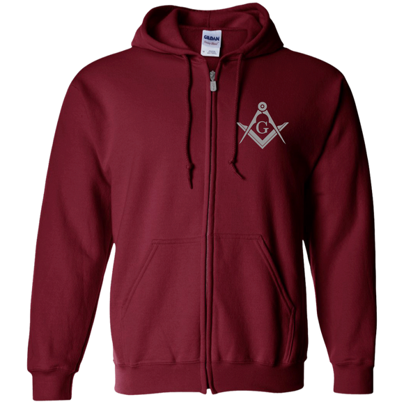 FreeMason Silver S&C Zip Up Hooded Sweatshirt