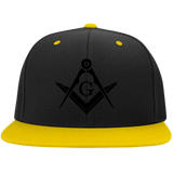 FreeMason black S&C Flat Bill High-Profile Snapback Hat - Kustom Keepsakes