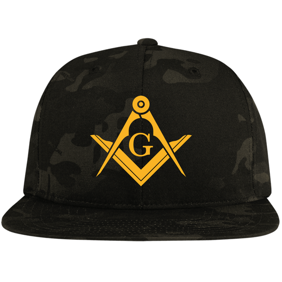 FreeMason Gold S&C  Flat Bill High-Profile Snapback Hat