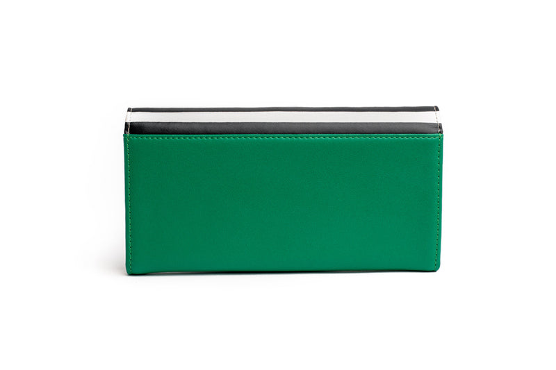 womens leather wallet stylish wallet high end wallet clutch stripes green