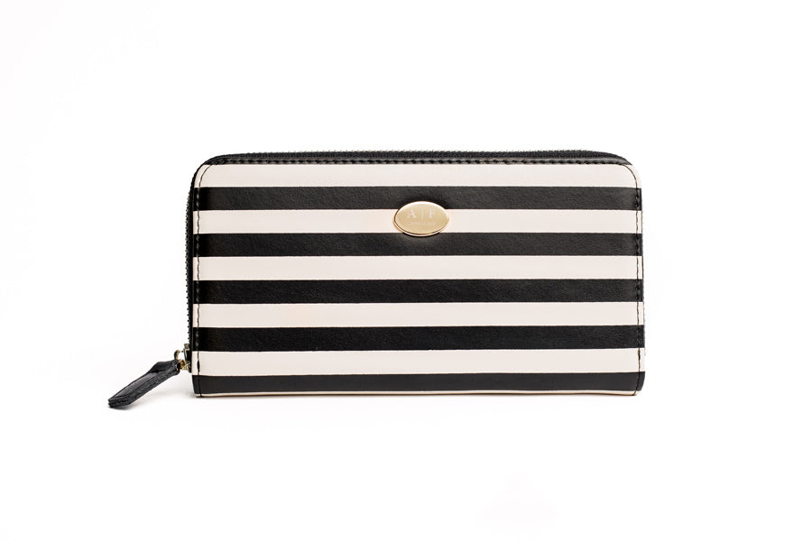 womens leather wallet stylish wallet high end wallet clutch stripes