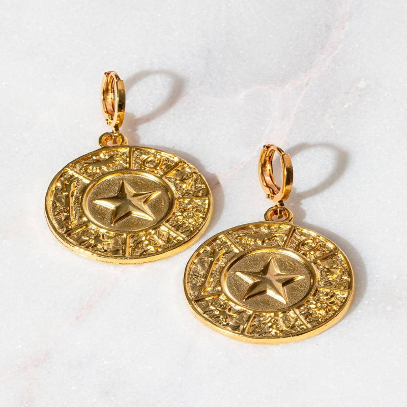 THE LONE STAR EMBOSSED CLASSIC HUGGIE EARRING