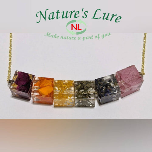 Handmade multiple pendant natural rainbow golden chain necklace: Nature's Colors