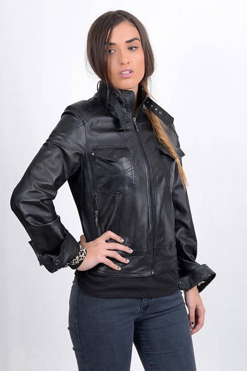 VERVIKUE BLACK AUTHENTIC  LEATHER JACKET