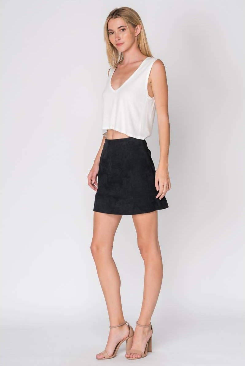 IN PLAIN SIGHT BLACK CORDUROY MINI SKIRT