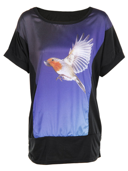 Humming Bird Print T-Shirt - -Tops- Tenner Store - 1