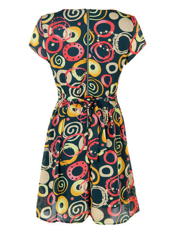 Cap Sleeve Printed Dress - -Dresses- Tenner Store - 2