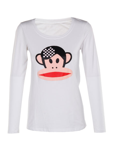 Monkey Print Long Sleeve Top - -Tops- Tenner Store - 1