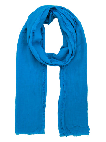 Blue Scarf With Frayed Edges