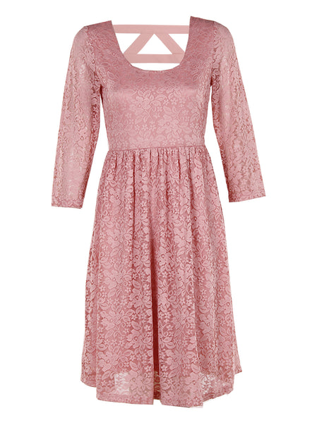 Pink Lace Midi Dress - -Dresses- Tenner Store - 1