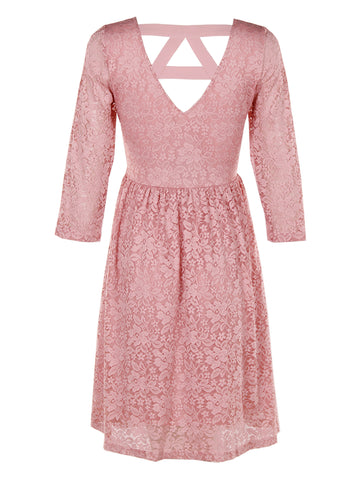 Pink Lace Midi Dress - -Dresses- Tenner Store - 2