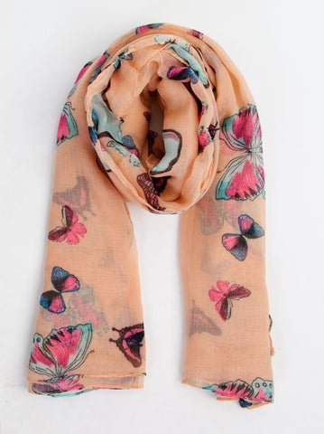 Butterfly Print Peach Scarf - -Scarves- Tenner Store