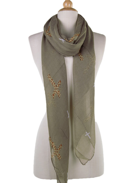 Leopard Cross Scarf - -Scarves- Tenner Store - 1