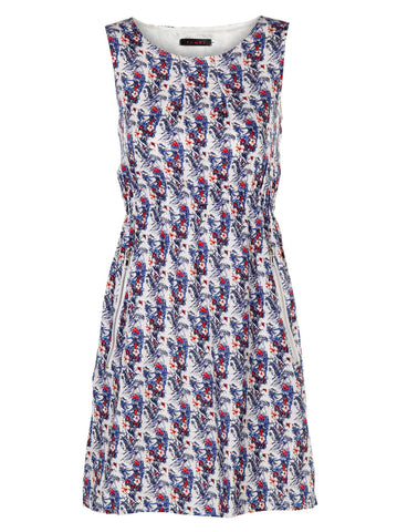 Bird And Flower Print With Zip Pocket Dress