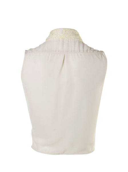 Sleeveless Front Tie Top With Lace Collar - -Tops- Tenner Store - 2