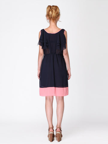 Navy Ruffle Dress - -Dresses- Tenner Store - 2