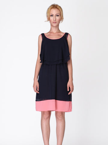 Navy Ruffle Dress - -Dresses- Tenner Store - 1