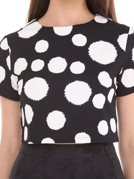 Spot Cropped Top - -Tops- Tenner Store - 1