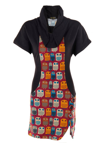 Panel Owl Print Maroon Tunic Dress