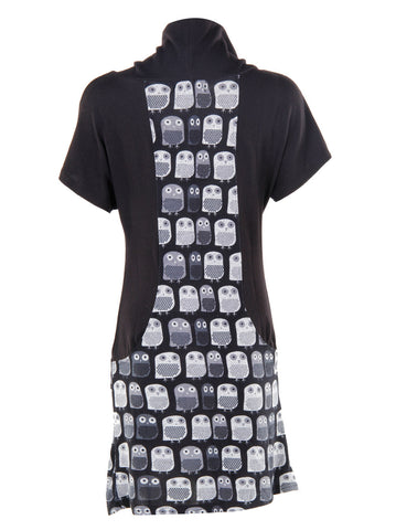 Panel Owl Print Grey Tunic Dress