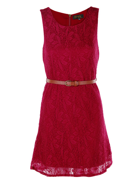 Red Lace Dress With Belt - -Dresses- Tenner Store - 1