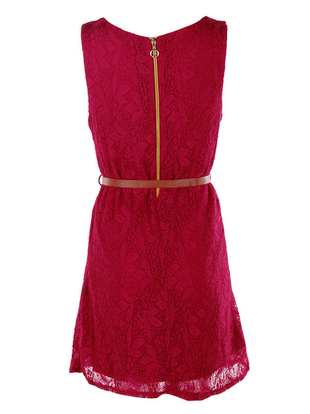 Red Lace Dress With Belt - -Dresses- Tenner Store - 2