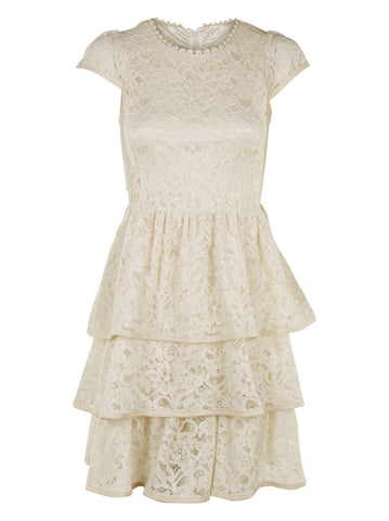 Lace Tiered Dress - -Dresses- Tenner Store - 1