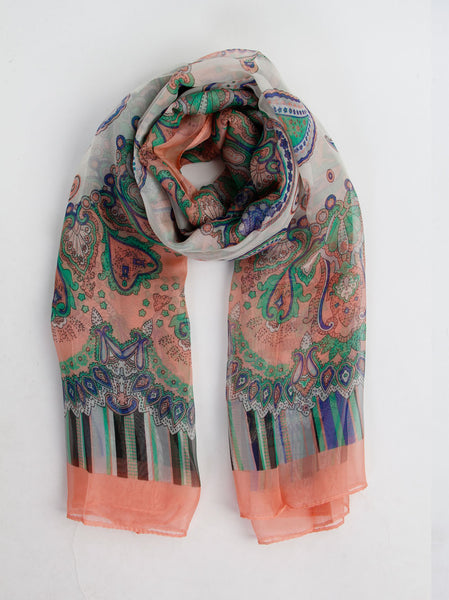Paisley Print Peach Scarf - -Scarves- Tenner Store