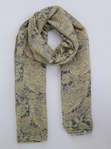 Lace and Floral Print Scarf