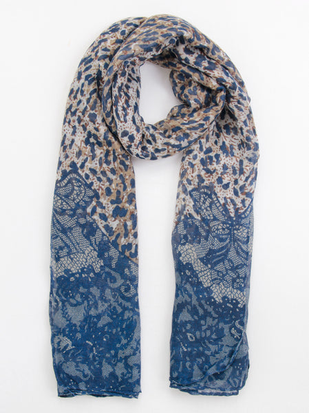Animal And Lace Print Scarf - -Scarves- Tenner Store