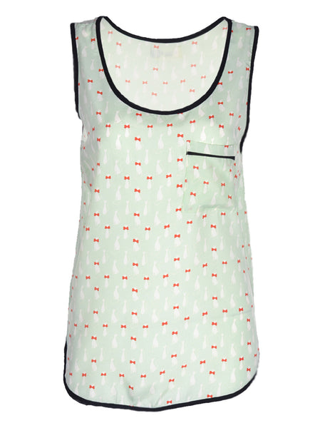 Cat Vest in Mint - -Tops- Tenner Store