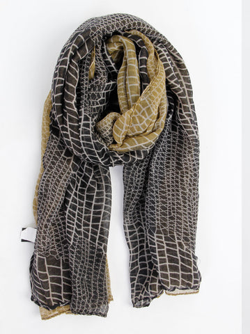 Animal Print Black Scarf