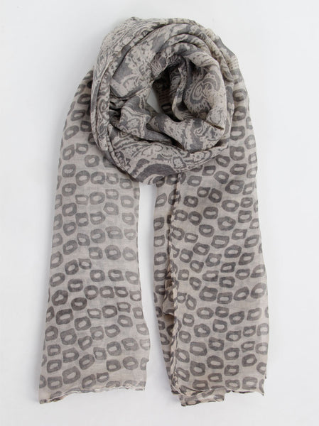 Circle Print Grey Scarf - -Scarves- Tenner Store