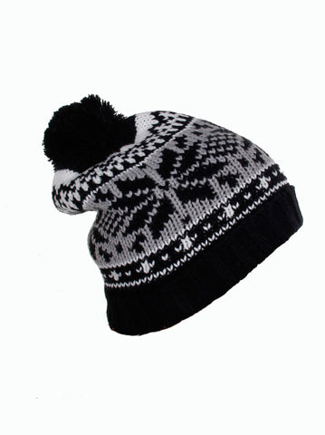 Snowflakes Motif Thick Chunky Knitted Black Beanie with Boble