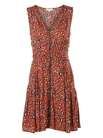 Leopard Print Orange Dress