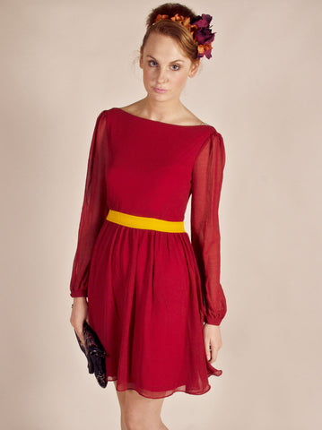 Chiffon Red Dress - -Dresses- Tenner Store - 1