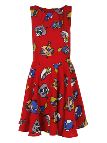 Owl Printed Red Dress