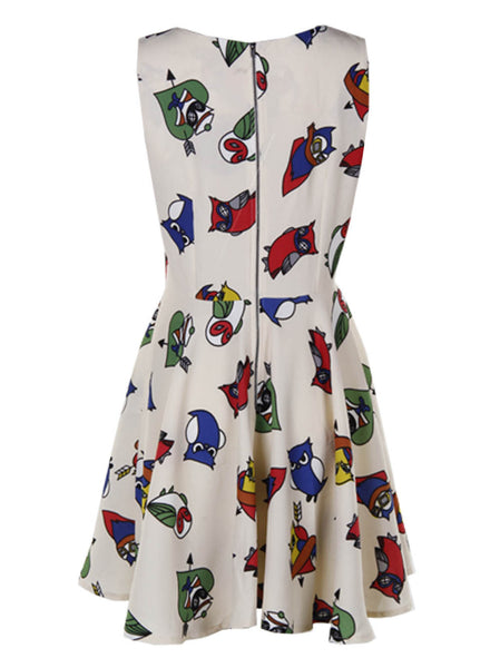 Owl Printed Cream Dress - -Dresses- Tenner Store - 2