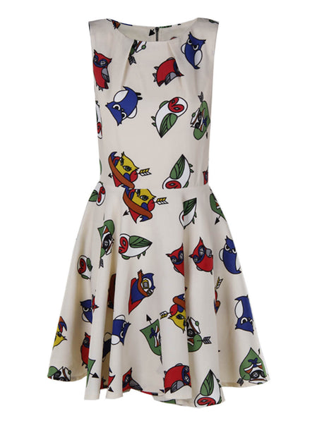 Owl Printed Cream Dress - -Dresses- Tenner Store - 1