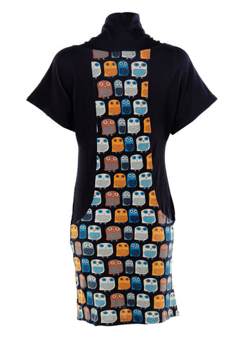 Panel Owl Print Tunic Dress